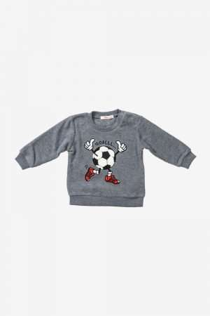 Football Print Fleece Sweatshirt