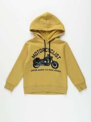 Motorcycle Print Fleece Sweatshirt