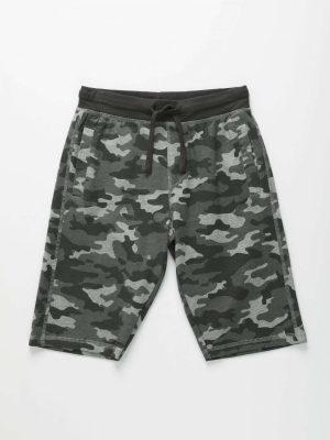 Camouflage Print Drawstring Shorts