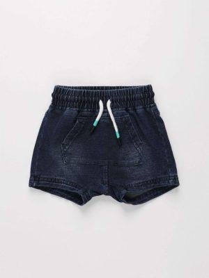 Front-pocket Cotton Denim Shorts