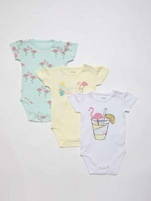 3-Piece Flamingo Bodysuit Set